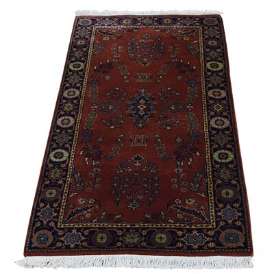 New Zealand 300 KPSI Sarouk Narrow Hand-Knotted Red Area Rug