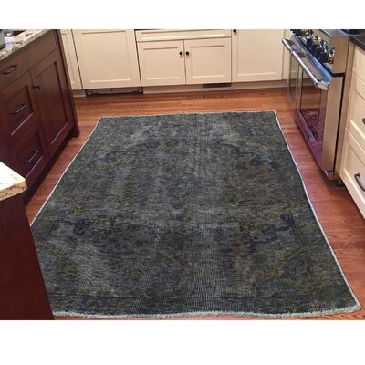 One-of-a-Kind MaryLou Vintage Overdyed Oriental Hand-Knotted Gray Area Rug
