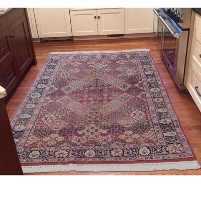 Garden Sarouk 300 KPSI and Plush Hand-Knotted Wool Red Area Rug