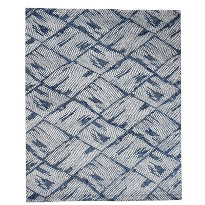 Hi and Low Oriental Hand-Knotted Silk Blue Area Rug