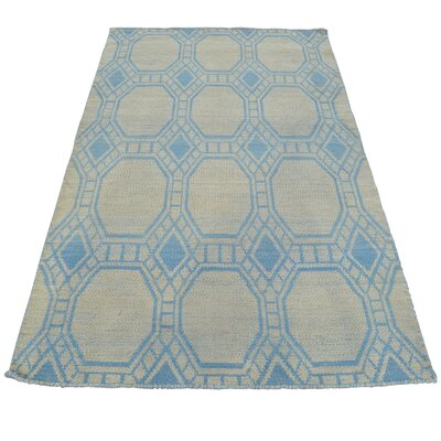Oriental Reversible Geometric Kilim Hand-Knotted Blue Area Rug