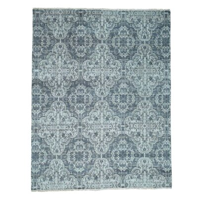 Moughal Geometric Oriental Hand-Knotted Silk Gray Area Rug