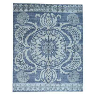 Zodiac Oriental Hand-Knotted Blue Area Rug