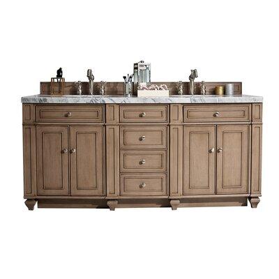 "Lambrecht 72"" Double Bathroom Vanity Set Top Thickness: 3 cm, Top Finish: Summer Sand, Base Finish: Whitewashed Walnut 7091C0F24EF843C0893B27F0AE900058"