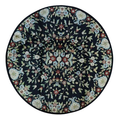 Botanical Oriental Hand-Knotted Black Area Rug