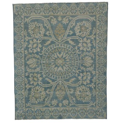 Roman Mossaic Oriental Hand-Knotted Blue Area Rug