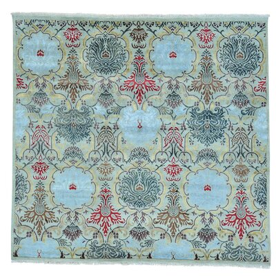 Agra Oriental Hand-Knotted Silk Blue Area Rug