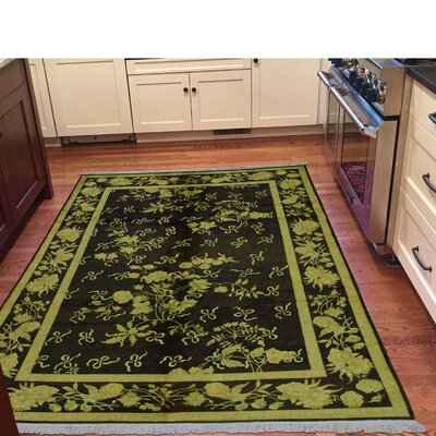 Botanical Flowers Hand-Knotted Silk Brown Area Rug