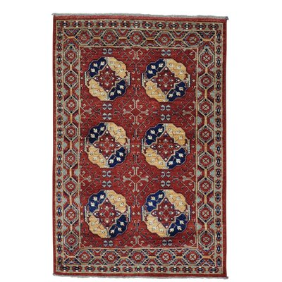 Elephant Turkoman Afghan Ersari Oriental Hand-Knotted Red Area Rug