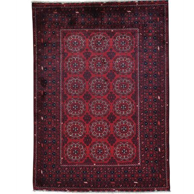 Natural Dyes Afghan Khamyab Oriental Hand-Knotted Red Area Rug
