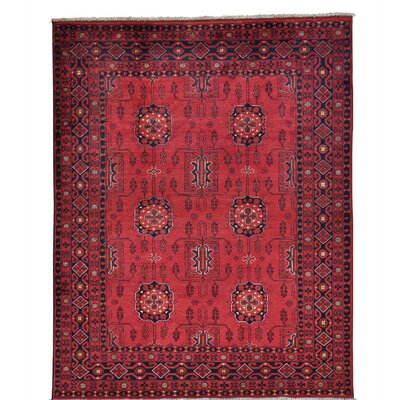 Afghan Khamyab Vegetable Dyes Oriental Hand-Knotted Red Area Rug