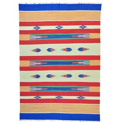 Flat Weave Killim Oriental Southwest Hand-Knotted Cotton Blue/Red Area Rug