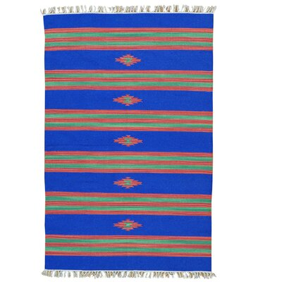 Flat Weave Killim Oriental Southwest Hand-Knotted Cotton Blue Area Rug