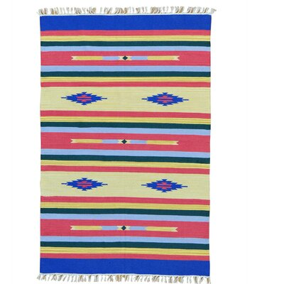 Southwest Flat Weave Killim Oriental Hand-Knotted Cotton Blue/Pink Area Rug