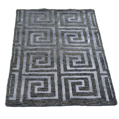 One-of-a-Kind Woods Charcoal Oriental Hand-Knotted Silk Area Rug