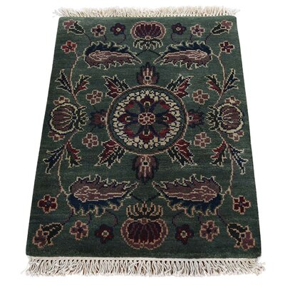 Rajasthan Mat Oriental Hand-Knotted Green Area Rug