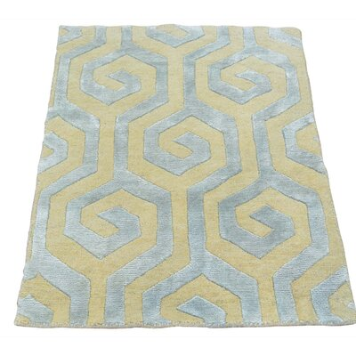 One-of-a-Kind Huggins Oriental Geometric Hand-Knotted Silk Area Rug