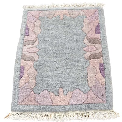 Nepali Oriental Sample Hand-Knotted Gray Area Rug
