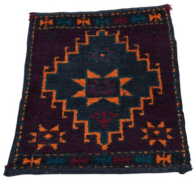 Afghan Baluch Bag Face Oriental Sample Hand-Knotted Black Area Rug