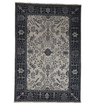One-of-a-Kind Organ Knot Oushak Sarouk Cropped Oriental Hand-Knotted Area Rug