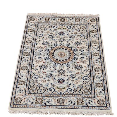 300 KPSI Nain Oriental Hand-Knotted Silk Ivory Area Rug
