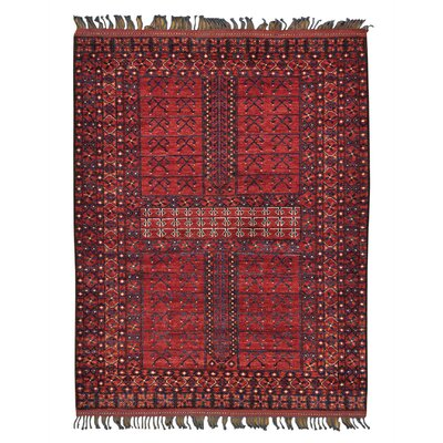 Engsi Afghan Ersari Oriental Hand-Knotted Red Area Rug