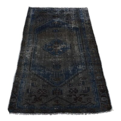 One-of-a-Kind Kendrick Vintage Overdyed Hamadan Oriental Hand-Knotted Area Rug