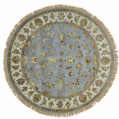 Rajasthan Oriental Hand-Knotted Silk Blue Area Rug