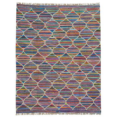 Duri Kilim and Oriental Hand-Knotted Silk Purple/Pink Area Rug