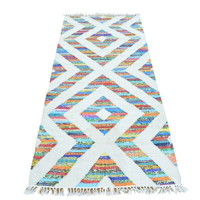 Geometric Kilim Oriental Hand-Knotted Cotton White/Aqua Area Rug