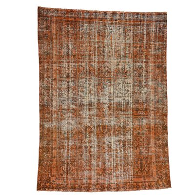 Bakhtiari Overdyed Garden Worn Oriental Hand-Knotted Orange Area Rug