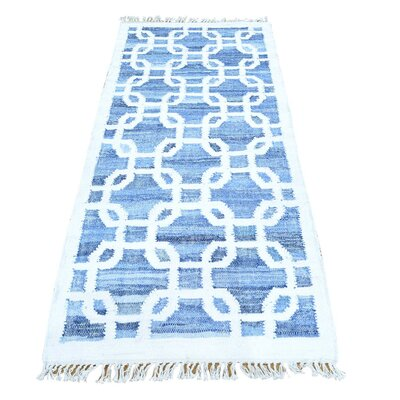 Kilim Oriental Hand-Knotted Blue Area Rug