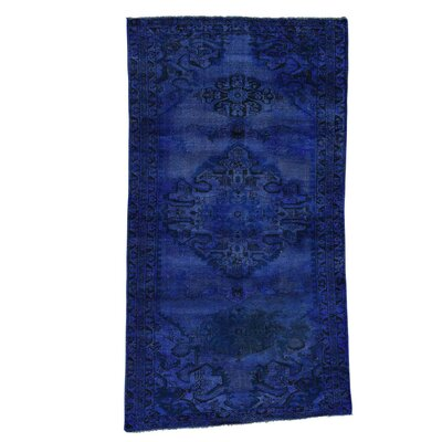 Overdyed Hamadan Worn Hand-Knotted Blue Area Rug