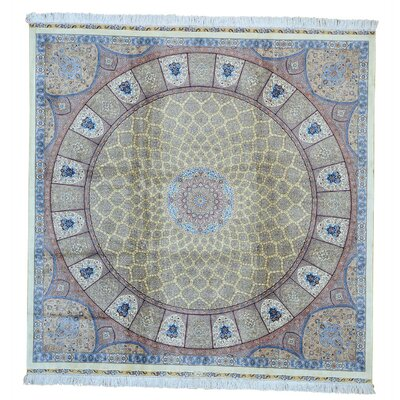 One-of-a-Kind Grenz Gumbad Signed Oriental Hand-Knotted Silk Area Rug