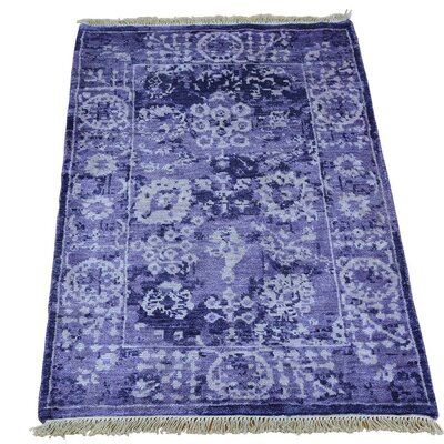 One-of-a-Kind Samons Tone on Tone Oriental Hand-Knotted Silk Area Rug