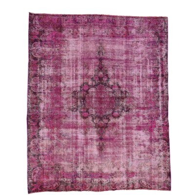 Overdyed Mashad Worn Oriental Hand-Knotted Pink Area Rug
