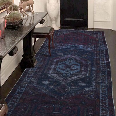 One-of-a-Kind Kenilworth Vintage Overdyed Hamadan Hand-Knotted Silk Area Rug