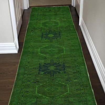 One-of-a-Kind Greenawalt Overdyed Karajeh Oriental Hand-Knotted Silk Area Rug