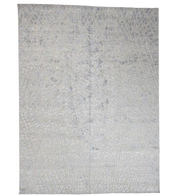 One-of-a-Kind Woods Oidized Tone on Tone Oriental Hand-Knotted Silk Area Rug