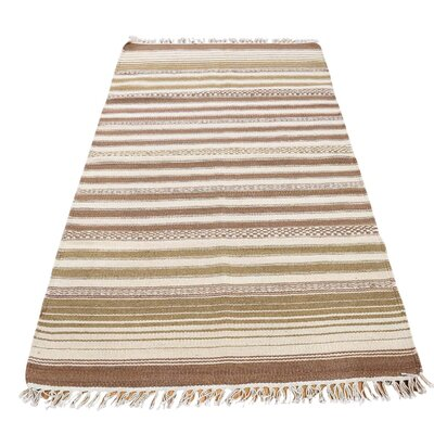 Reversible Durie Kilim Oriental Hand-Knotted Ivory/Light Brown Area Rug