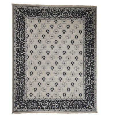 One-of-a-Kind Oritz Knot Boteh Cropped Oriental Hand-Knotted Area Rug