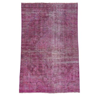 Overdyed Mashad Worn Hand-Knotted Pink Area Rug