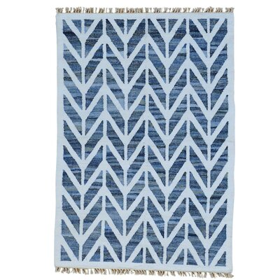Geometric Durie Kilim Oriental Hand-Knotted White/Blue Area Rug