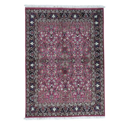 Mashad Oriental Hand-Knotted Pink Area Rug