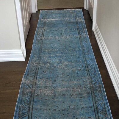 One-of-a-Kind Greenawalt Vintage Overdyed Hamadan Fragment Hand-Knotted Silk Area Rug