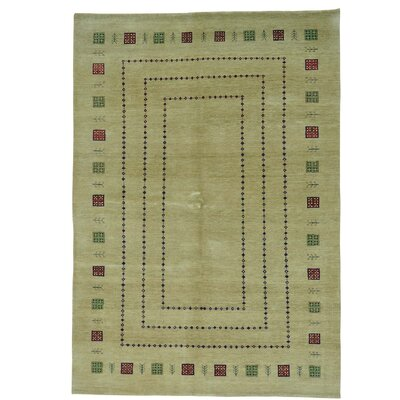One-of-a-Kind Rossman Folk Hand-Knotted Wool Beige Area Rug