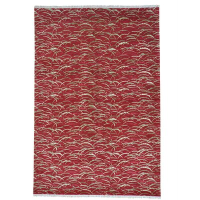 Tibetan Oriental Hand-Knotted Silk Red Area Rug