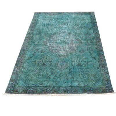 One-of-a-Kind Eatman Worn Overdyed Oriental Hand-Knotted Area Rug