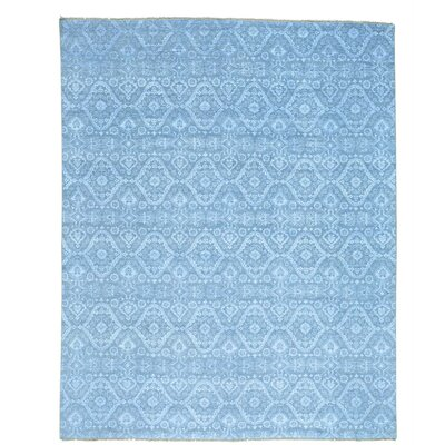 Ikat Tone on Tone Oriental Hand-Knotted Silk Gray Area Rug
