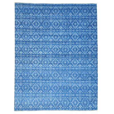 Ikat Dense Weave Tone on Tone Hand-Knotted Silk Blue Area Rug
